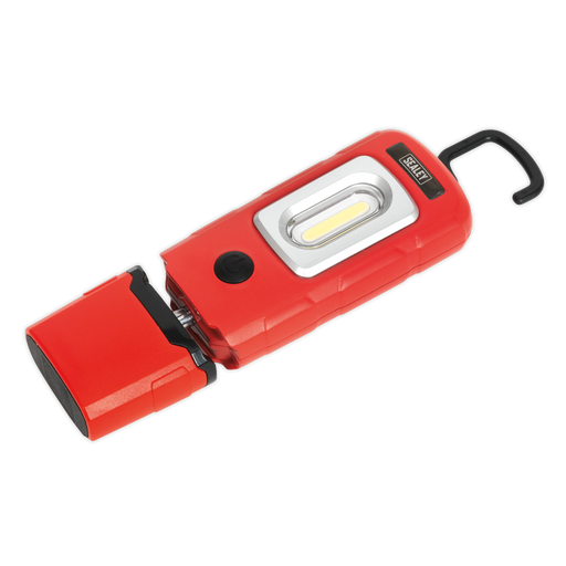 Sealey - LED3601R Rechargeable 360° Inspection Lamp 3W COB + 1W LED Red Lithium-Polymer