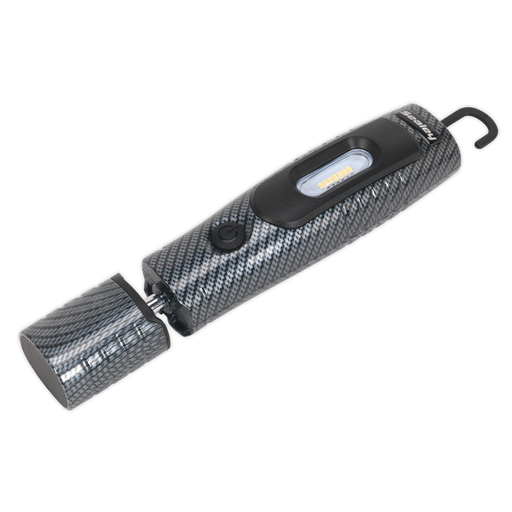 Sealey - LED3602CF Rechargeable 360° Inspection Lamp 7 SMD + 3W LED Carbon Fibre Effect Lithium-ion
