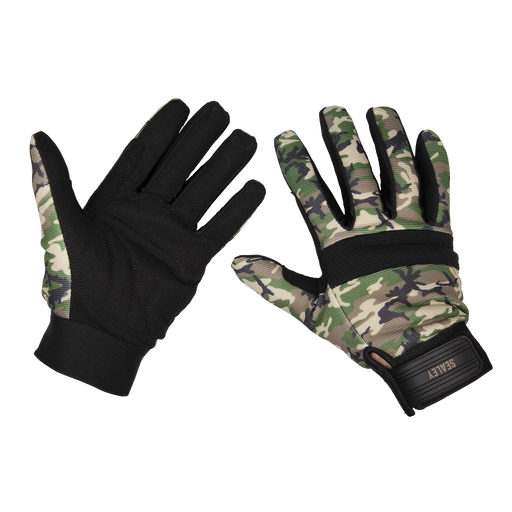 Sealey - MG795L Mechanic's Gloves Padded Palm Camo - Large
