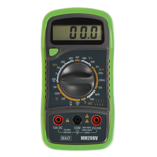 Sealey - MM20HV Digital Multimeter 8 Function with Thermocouple Hi-Vis