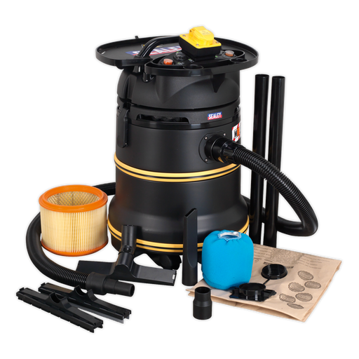 Sealey - PC35110V Vacuum Cleaner Industrial Wet/Dry 35ltr 1200W/110V Plastic Drum Class M Self-Clean Filter