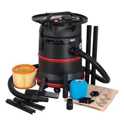 Sealey - PC35230V Vacuum Cleaner Industrial Wet/Dry 35ltr 1200W/230V Plastic Drum Class M Filtration Self-Clean Filter