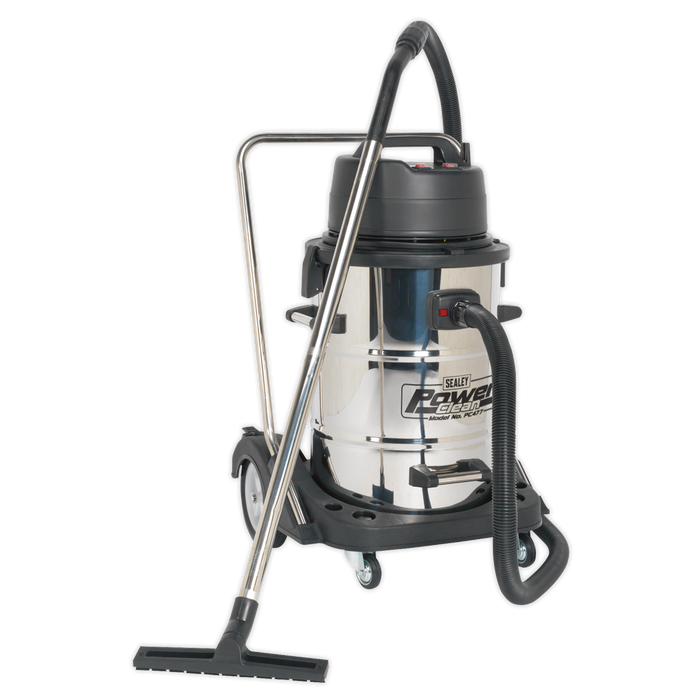 Sealey - PC477 Vacuum Cleaner Industrial Wet & Dry 77L Stainless Steel Drum with Swivel Emptying 2400W