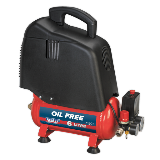 Sealey - SAC00615 Compressor 6ltr Belt Drive 1.5hp Oil Free