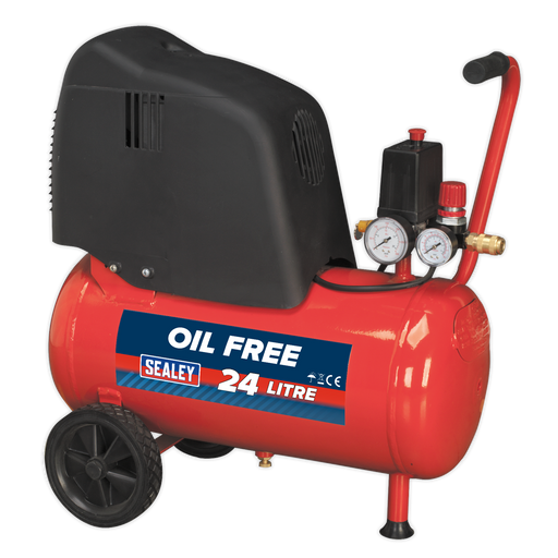 Sealey - SAC02415 Compressor 24ltr Belt Drive 1.5hp Oil Free