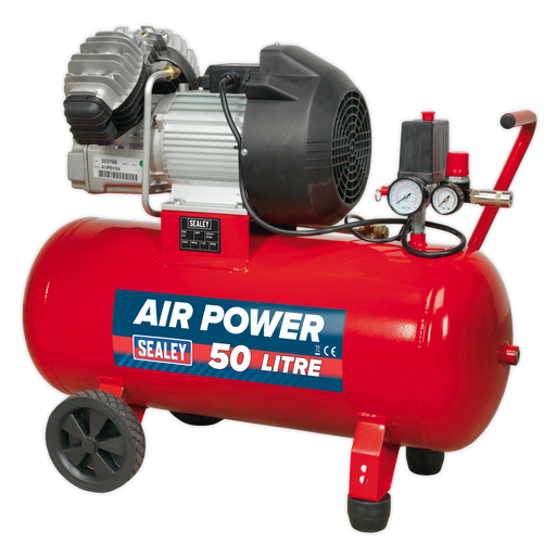 Sealey - SAC05030 Compressor 50ltr V-Twin Direct Drive 3hp