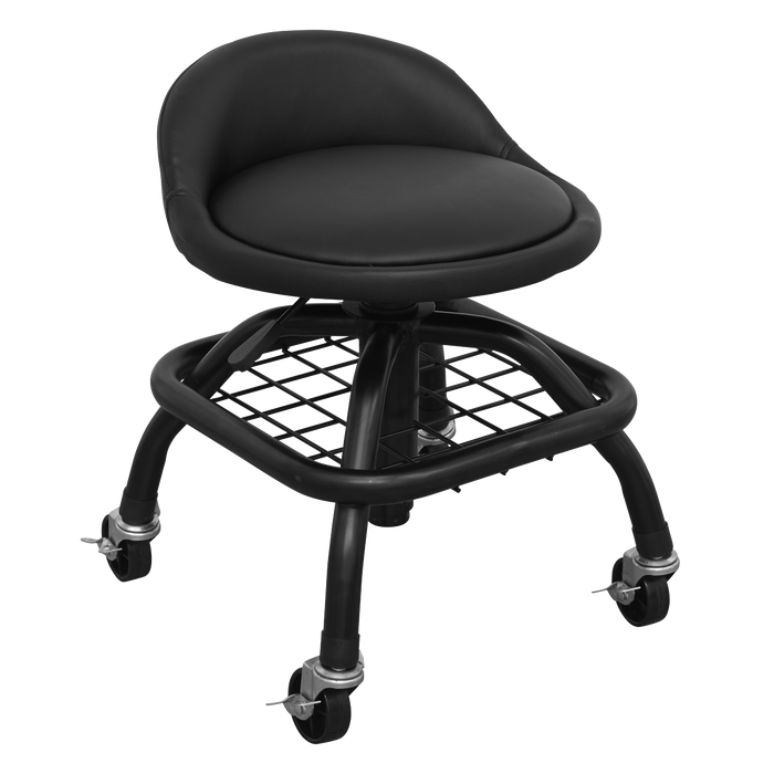 Sealey - SCR02B Creeper Stool Pneumatic with Adjustable Height Swivel Seat & Back Rest