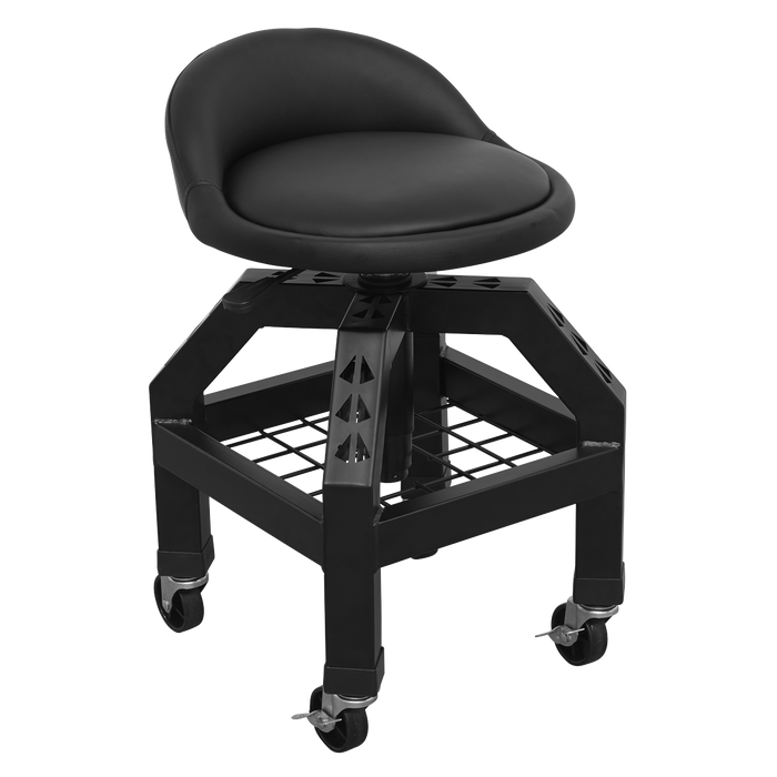 Sealey - SCR03B Creeper Stool Pneumatic with Adjustable Height Swivel Seat & Back Rest