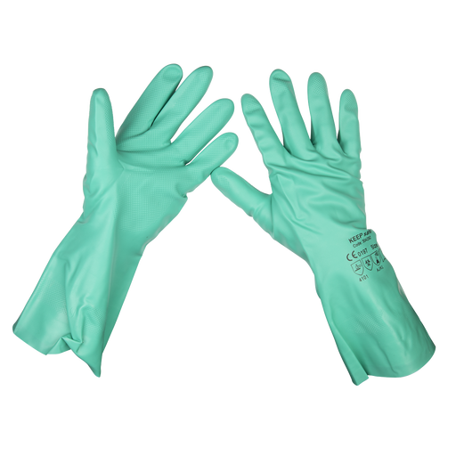 Sealey - SSP34 Nitrile Gauntlets for use with Thinners 355mm Cuffed Pair