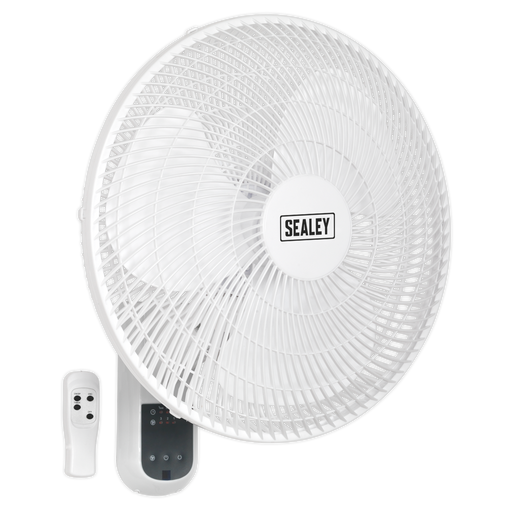 "Sealey - SWF16WR Wall Fan 3-Speed 16"" with Remote Control 230V"