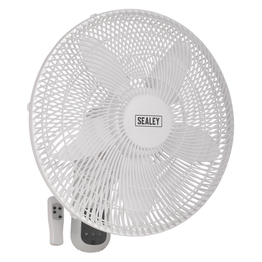 "Sealey - SWF18WR Wall Fan 3-Speed 18"" with Remote Control 230V"