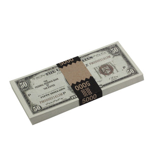 Series 1920s Vintage $50 Full Print Prop Money Stack