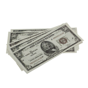 Series 1920s Vintage $50 Full Print Prop Money Stack - Prop Movie Money