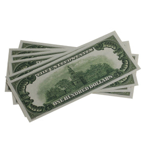 Series 1920s Vintage $100 Full Print Prop Money Stack - Prop Money