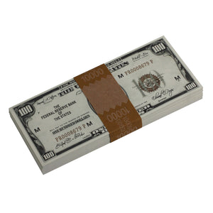 Series 1920s Vintage $100 Full Print Prop Money Stack - Prop Movie Money