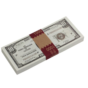 Series 1920s Vintage $10 Full Print Prop Money Stack - Prop Money