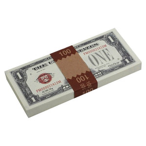 Series 1920's Vintage $1 Full Print $100 Prop Money Stack