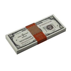 Series 1920s Vintage $20 Full Print Prop Money Stack - Prop Money