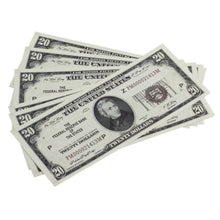 Load image into Gallery viewer, Series 1920s Vintage $20 Full Print Prop Money Stack - Prop Money