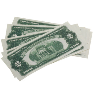 Series 1920s Vintage $2 Full Print Prop Money Stack - Prop Movie Money