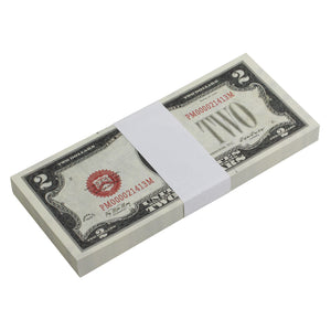 Series 1920s Vintage $2 Full Print Prop Money Stack - Prop Money