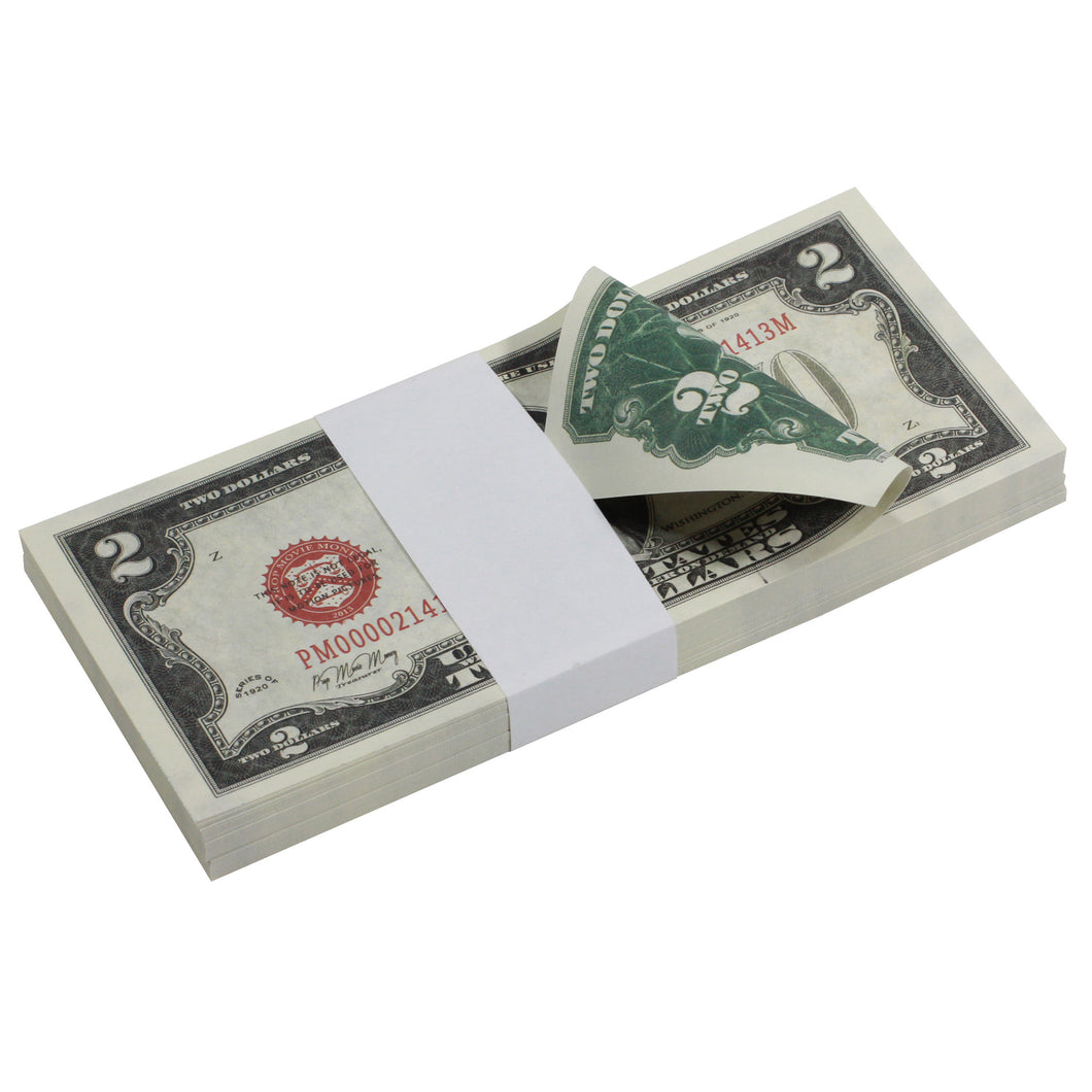 Series 1920s Vintage $2 Full Print Prop Money Stack