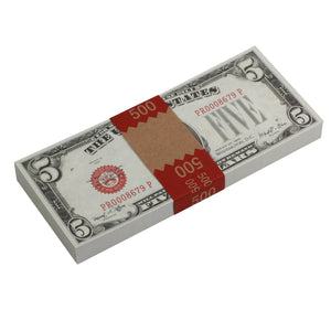 Series 1920s Vintage $5 Full Print Prop Money Stack
