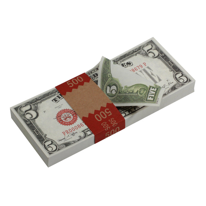 Series 1920s Vintage $5 Full Print Prop Money Stack - Prop Money
