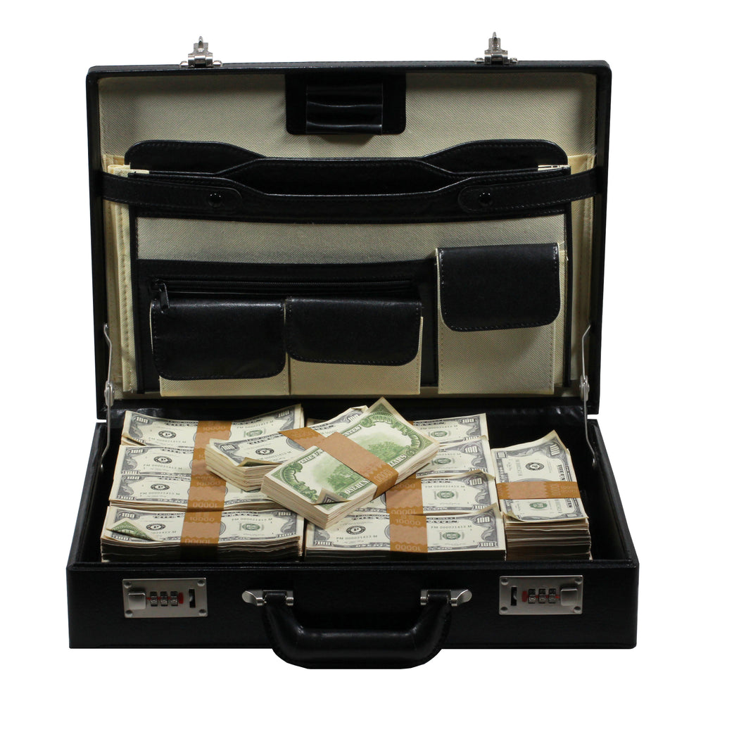 1980s Series $500,000 Aged Blank Filler Briefcase - Prop Money