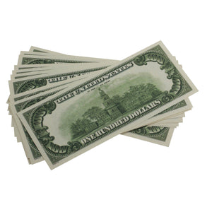 Series 1980s $100 Full Print Prop Money Stack - Prop Money