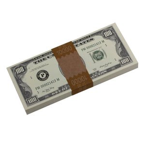 Series 1980s $100s Blank Filler $10,000 Prop Money Stack - Prop Money