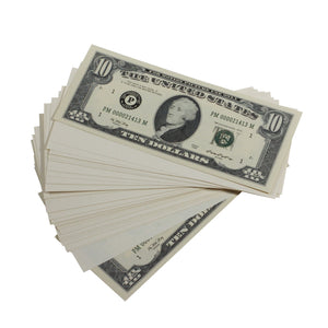 Series 1980s $10s Blank Filler $1,000 Prop Money Stack