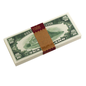 Series 1980s $10s Blank Filler $1,000 Prop Money Stack - Prop Money