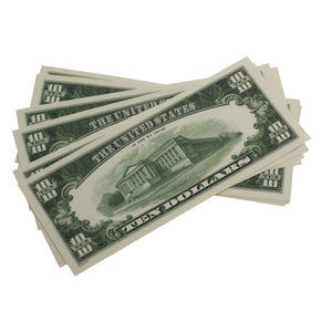Series 1980s $10 Full Print Prop Money Stack - Prop Money