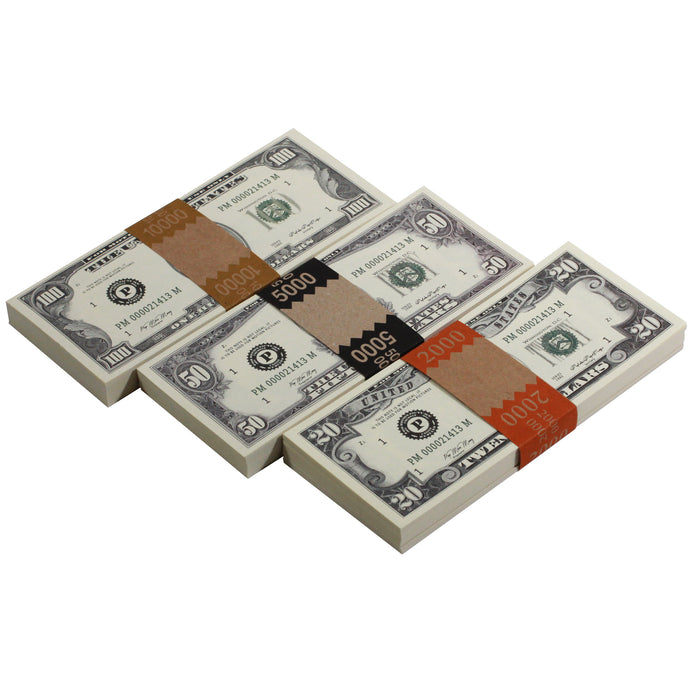 Series 1980s Mix $17,000 Full Print Prop Money Package - Prop Money