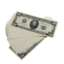 Load image into Gallery viewer, Series 1980s $20s Blank Filler $2,000 Prop Money Stack