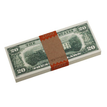 Load image into Gallery viewer, Series 1980s $20s Blank Filler $2,000 Prop Money Stack - Prop Money