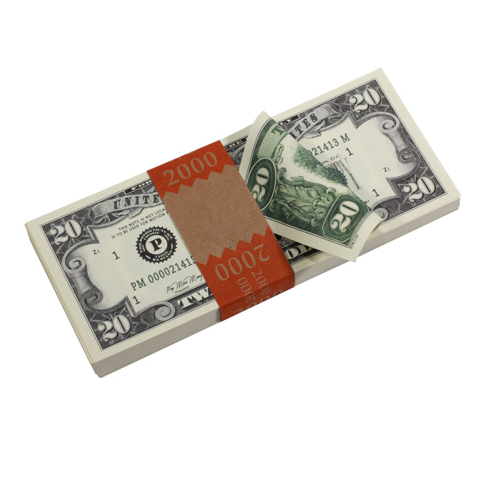 Series 1980s $20 Full Print Prop Money Stack - Prop Money