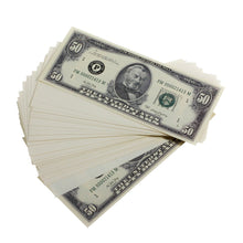 Load image into Gallery viewer, Series 1980s $50s Blank Filler $5,000 Prop Money Stack - Prop Movie Money