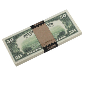 1980 Series $50 Full Print Prop Money Stack - Prop Money