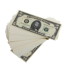Load image into Gallery viewer, Series 1980s $5s Blank Filler $500 Prop Money Stack - Prop Movie Money