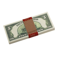 Load image into Gallery viewer, Series 1980s $5s Blank Filler $500 Prop Money Stack