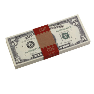 Series 1980s $5s Blank Filler $500 Prop Money Stack - Prop Movie Money