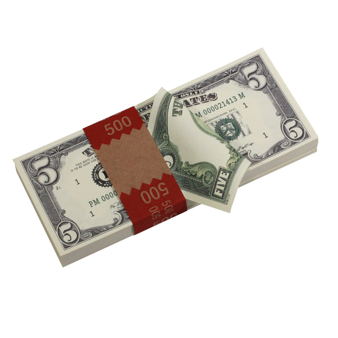 Series 1980s $5 Full Print Prop Money Stack - Prop Money