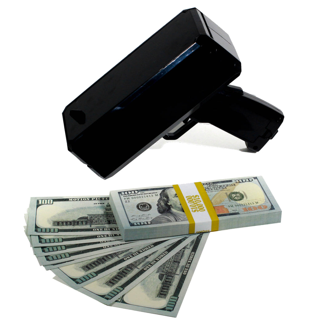 New Series $100 Full Print Stack with Money Gun - Prop Movie Money