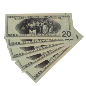 Harriet Tubman $20s x 5 Full Print Commemorative Bills - Prop Movie Money