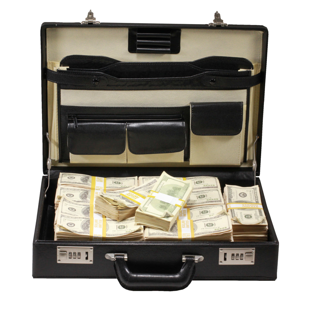 Series 2000s $500,000 Aged Blank Filler Briefcase - Prop Money