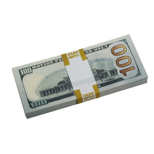 New Style $100 Full Print Prop Money Stack
