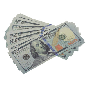 New Style $100s $20,000 Full Print Prop Money Bundle