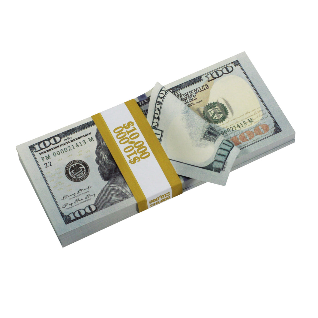 new style 100 full print stack showing full print bill prop money